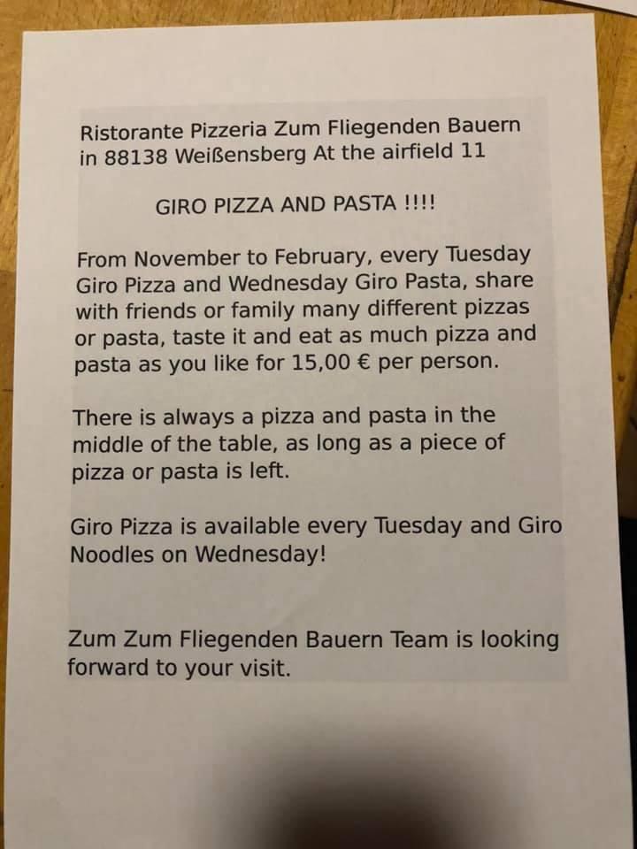 Ristorante Pizzeria Zum Fliegenden Bauern Weissensberg Restaurantbewertungen