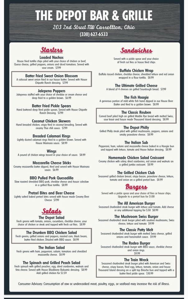 Depot Bar & Grill in Carrollton - Restaurant menu and reviews