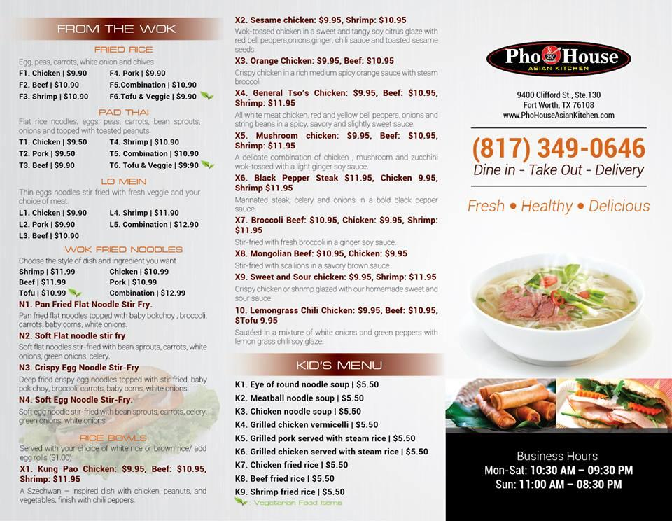 Pho House 9400 Clifford St Suite 130 In Fort Worth