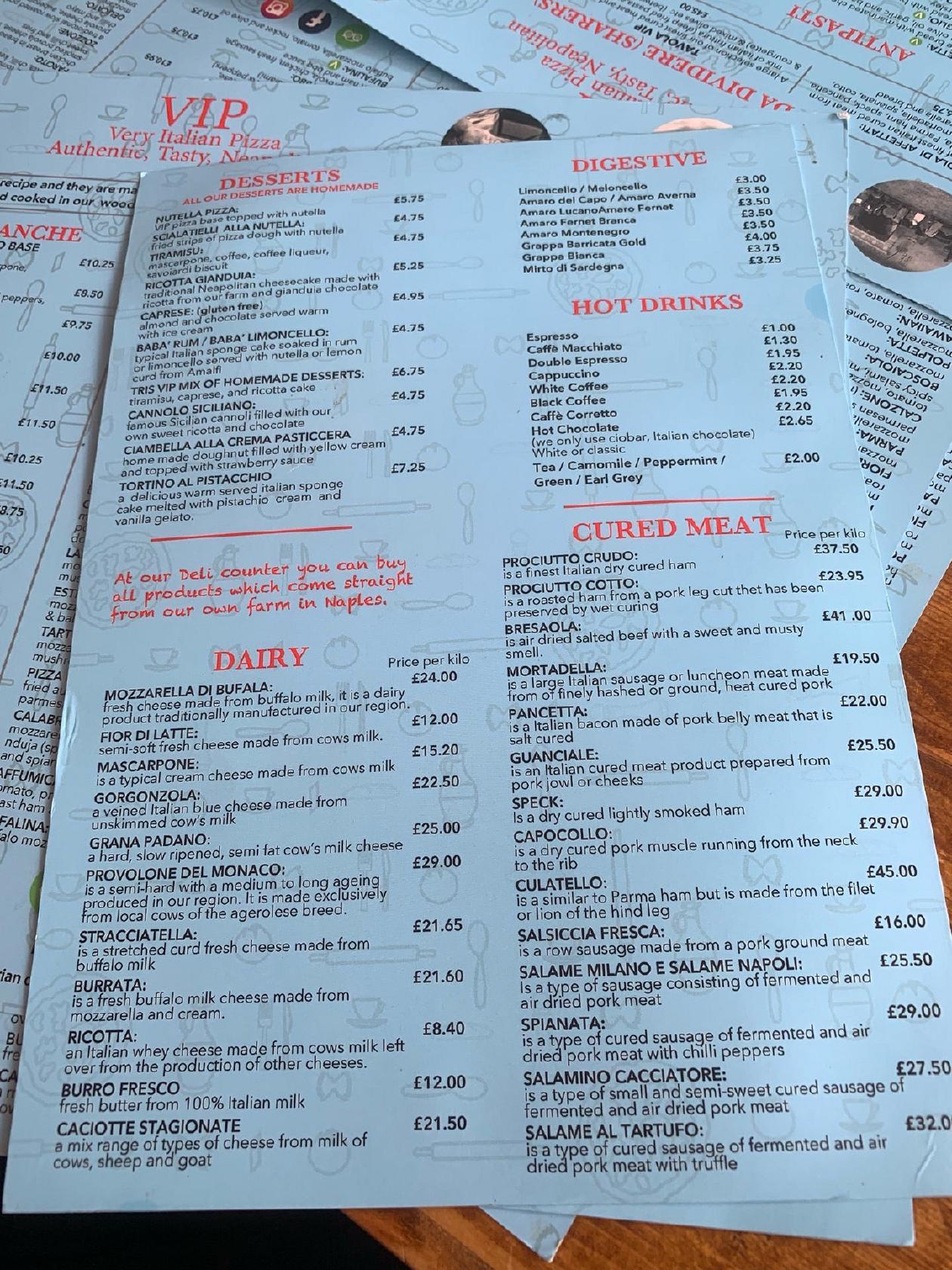 Vip Pizza 67 Lustrells Vale In Brighton Restaurant Menu