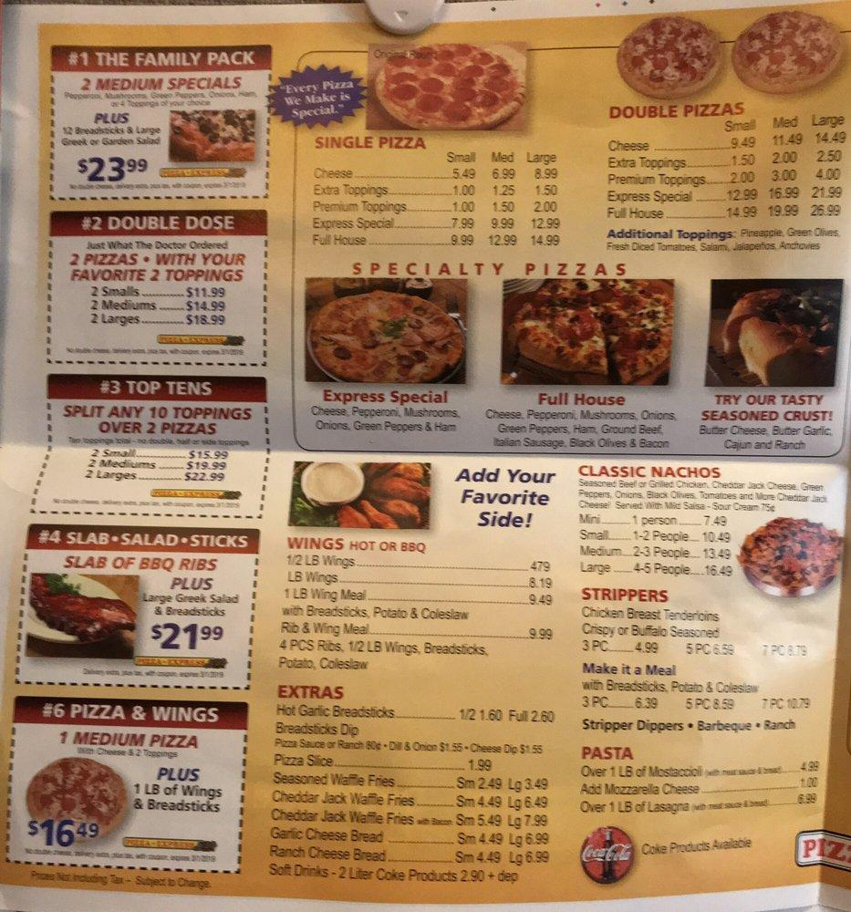 Pizza Express 1264 Baldwin Ave In Pontiac Restaurant Menu