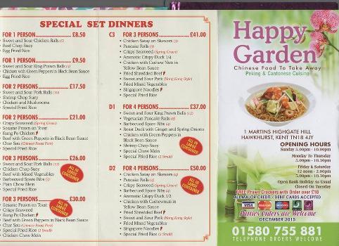 Happy garden chinese takeaway hawkhurst restaurant menu and