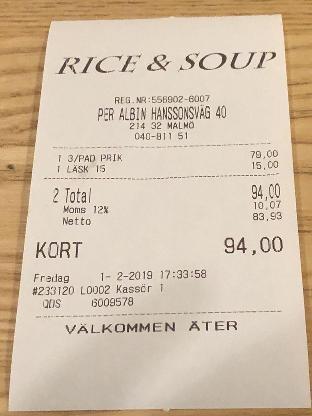 Rice Soup Restaurant Malmo Per Albin Hanssons Vag 40