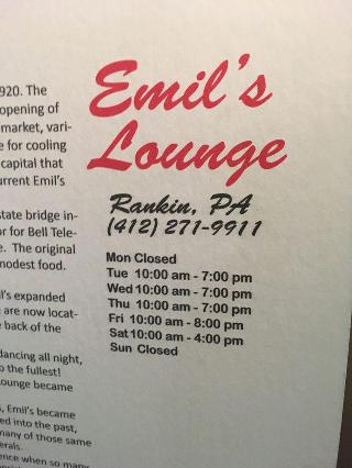 Emil\'s Lounge in Braddock - Restaurant menu and reviews