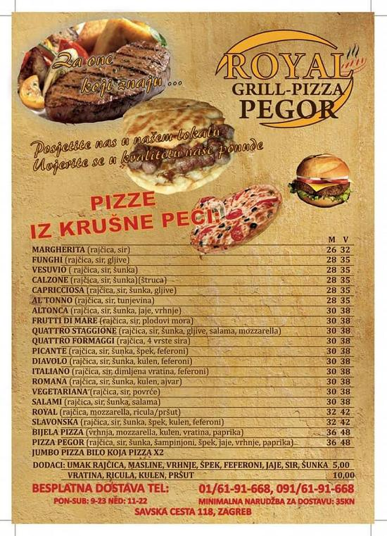 Royal Grill Pizza Pegor Restaurant Zagreb Restaurant Reviews