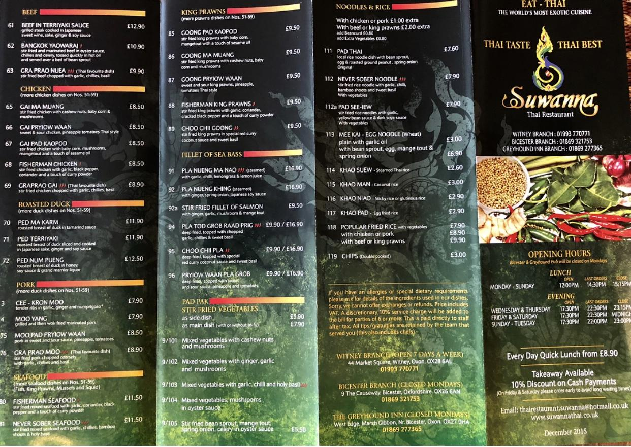 Suwanna In Witney Restaurant Menu And Reviews